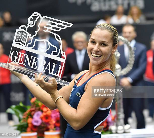 Dominika Cibulkova of Slovakia celebrates after winning the final match against Viktorija Golubic of Switzerland at the WTA Ladies Tennis Tournament...