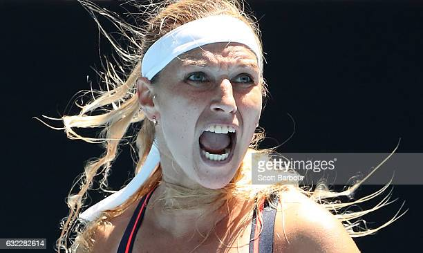 Dominika Cibulkova of Slovakia celebrates in her third round match against Ekaterina Makarova of Russia on day six of the 2017 Australian Open at...