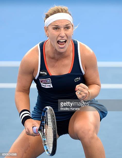Dominika Cibulkova of Slovakia celebrates victory after her match against Shuai Zhang of China on day four of the 2017 Brisbane International at Pat...
