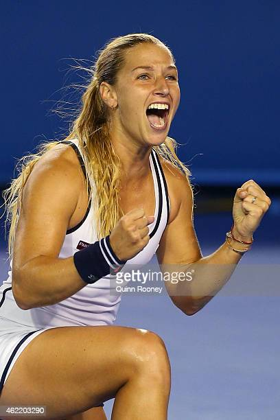 Dominika Cibulkova of Slovakia celebrates winning her fourth round match against Victoria Azarenka of Belarus during day eight of the 2015 Australian...