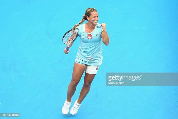 Dominika Cibulkova of Slovakia celebrates winning her match against Caroline Wozniacki of Denmark during day three of the 2011 Medibank International...