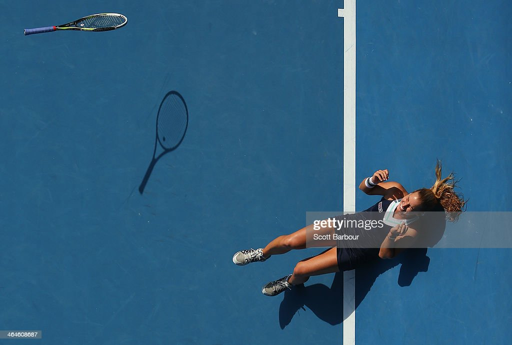 Dominika Cibulkova of Slovakia celebrates winning her semifinal match against Agnieszka Radwanska of Poland during day 11 of the 2014 Australian Open at Melbourne Park on January 23, 2014 in Melbourne, Australia.