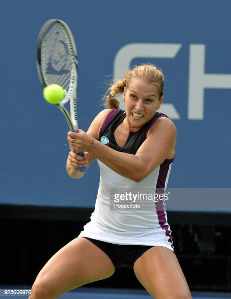 Dominika Cibulkova of Slovakia in action against Irina Falconi of the United States during Day Three of the 2011 US Open at the USTA Billie Jean King...