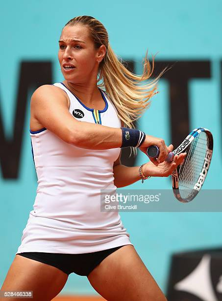 Dominika Cibulkova of Slovakia in action against Sorana Cirstea of Romania in their quarter final match match during day six of the Mutua Madrid Open...