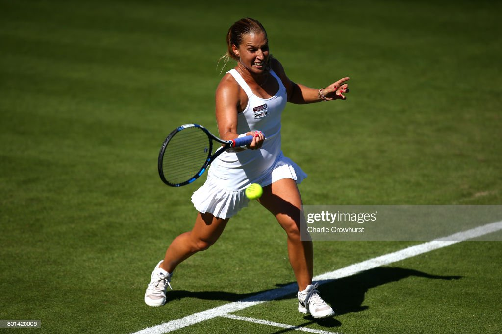 Dominika Cibulkova of Slovakia in action during her first round match against Heather Watson of Great Britain during day two of the Aegon International Eastbourne on June 26, 2017 in Eastbourne, England.