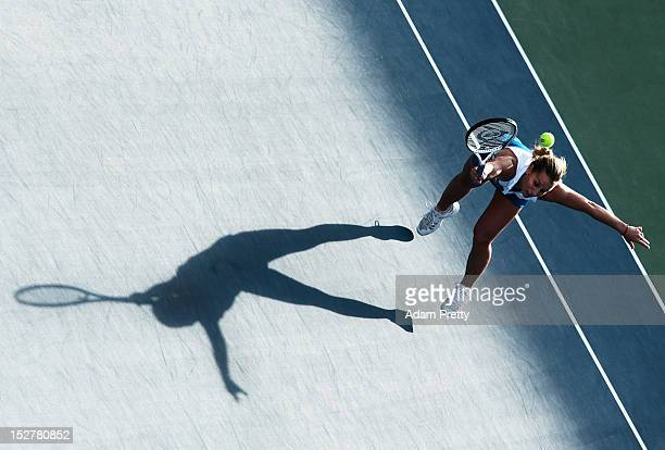 Dominika Cibulkova of Slovakia in action during her match against Samatha Stosur of Australia during day four of the Toray Pan Pacific Open at Ariake...