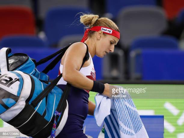 Dominika Cibulkova of Slovakia leaves the court after defeated by Caroline Garcia of France at round 3 of Women's Single of 2017 Wuhan Open during...