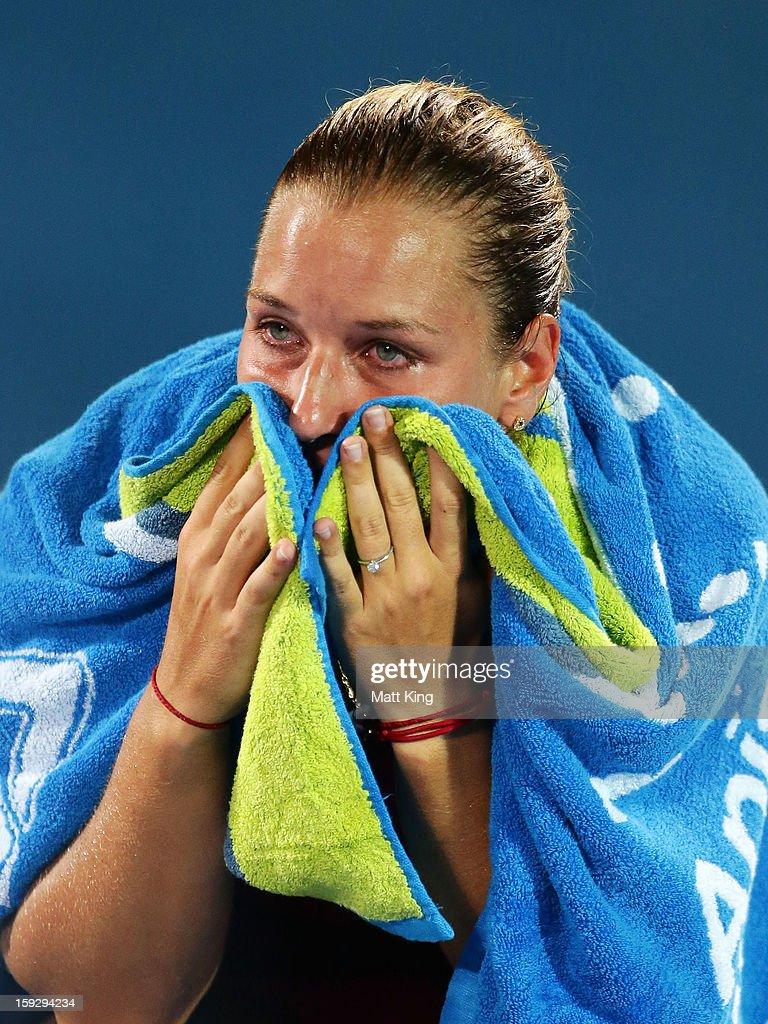 Dominika Cibulkova of Slovakia looks dejected after losing the women's final match against Agnieszka Radwanska of Poland during day six of the Sydney International at Sydney Olympic Park Tennis Centre on January 11, 2013 in Sydney, Australia.
