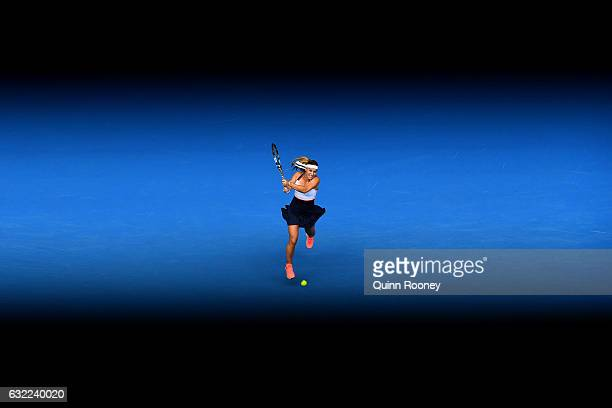 Dominika Cibulkova of Slovakia plays a backhand in her third round match against Ekaterina Makarova of Russia on day six of the 2017 Australian Open...