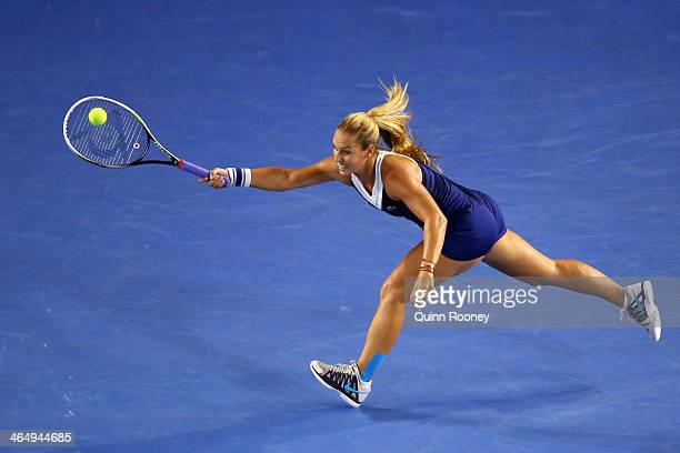 Dominika Cibulkova of Slovakia plays a forehand in her women's final match against Na Li of China during day 13 of the 2014 Australian Open at...