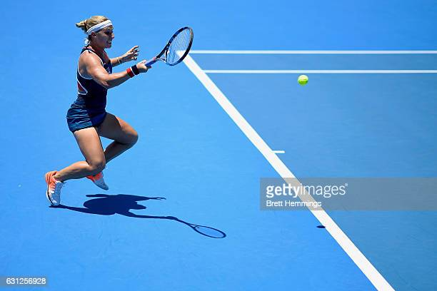 Dominika Cibulkova of Slovakia plays a forehand shot in her first round match against Laura Siegemund of Germany during day two of the 2017 Sydney...