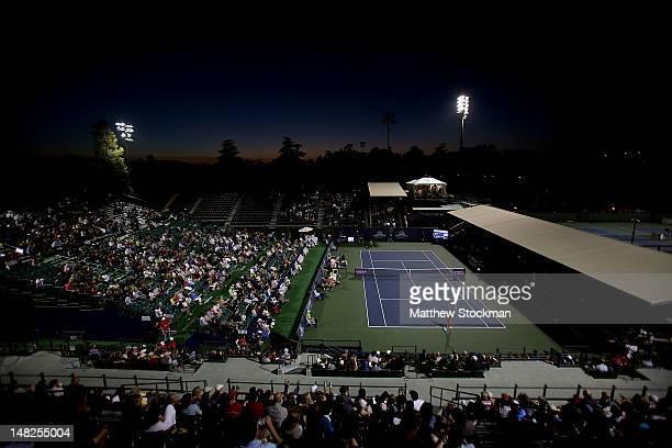 Dominika Cibulkova of Slovakia plays Erika Sema of Japan during the Bank of the West Classic at Stanford University Taube Family Tennis Stadium on...