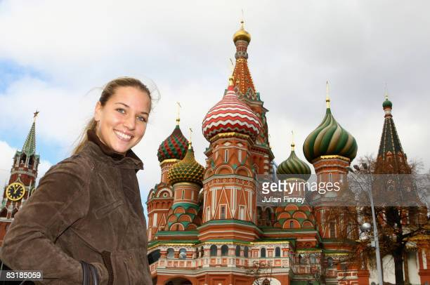 Dominika Cibulkova of Slovakia poses by St Basil's Cathedral at the Red Square during day four of the Kremlin Cup Tennis at the Olympic Stadium on...