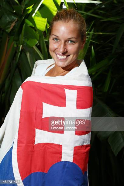 Dominika Cibulkova of Slovakia poses during day 12 of the 2014 Australian Open at Melbourne Park on January 24, 2014 in Melbourne, Australia.