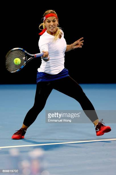 Dominika Cibulkova of Slovakia returns a shot against Elise Mertens of Belgium on day three of the 2017 China Open at the China National Tennis...