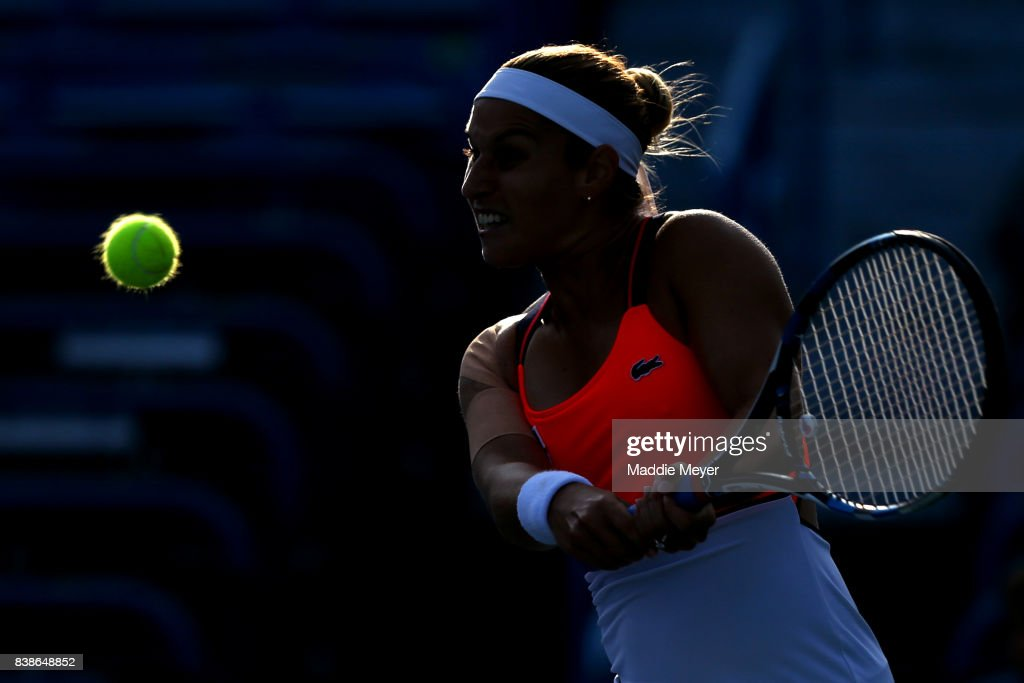 Dominika Cibulkova of Slovakia returns a shot to Anastasia Pavlyuchenkova of Russia during their match on Day 7 of the Connecticut Open at Connecticut Tennis Center at Yale on August 24, 2017 in New Haven, Connecticut.