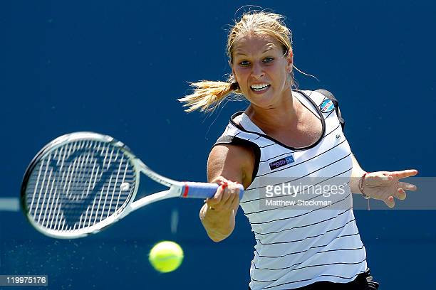 Dominika Cibulkova of Slovakia returns a shot to Christina McHale during the Bank of the West Classic at the Taube Family Tennis Stadium on July 27...