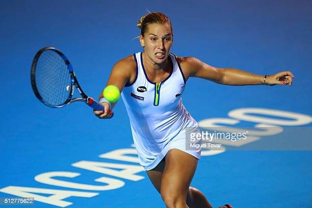 Dominika Cibulkova of Slovakia returns the ball during the woman's final singles match between Dominika Cibulkova of Slovakia and Sloane Stephens of...