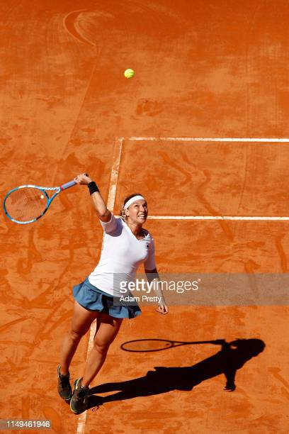 Dominika Cibulkova of Slovakia serves against Naomi Osaka of Japan in their Women's Round of 32 match during Day Five of the International BNL...