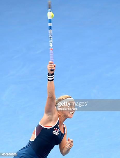 Dominika Cibulkova of Slovakia serves against Shuai Zhang of China on day four of the 2017 Brisbane International at Pat Rafter Arena on January 4...