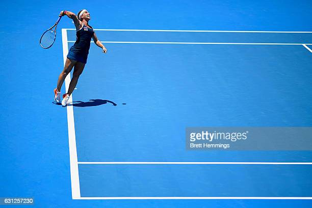Dominika Cibulkova of Slovakia serves in her first round match against Laura Siegemund of Germany during day two of the 2017 Sydney International at...