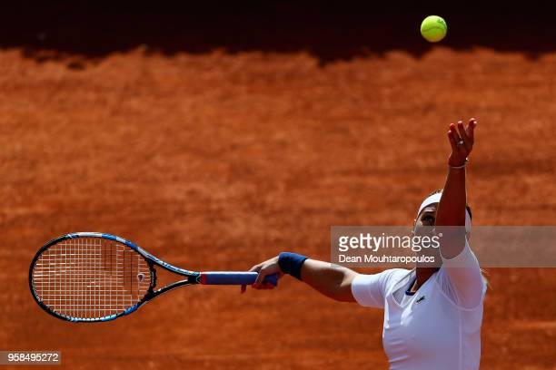 Dominika Cibulkova of Slovakia serves in her match against Francesca Schiavone of Italy during day two of the Internazionali BNL d'Italia 2018 tennis...
