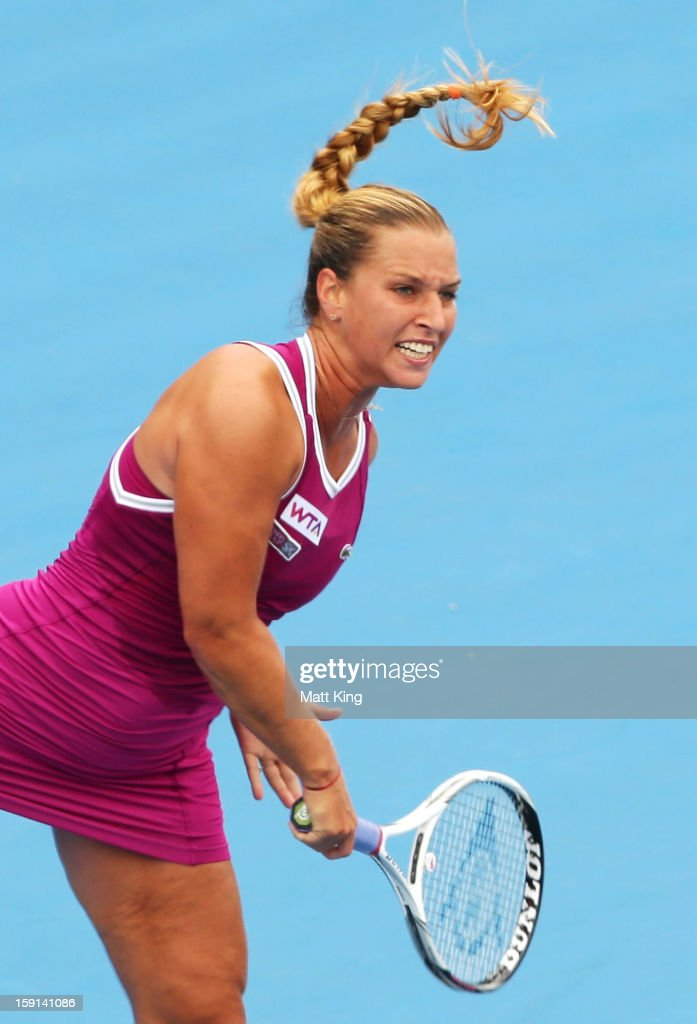 Dominika Cibulkova of Slovakia serves in her quarter final match against Sara Errani of Italy during day four of the Sydney International at Sydney Olympic Park Tennis Centre on January 9, 2013 in Sydney, Australia.