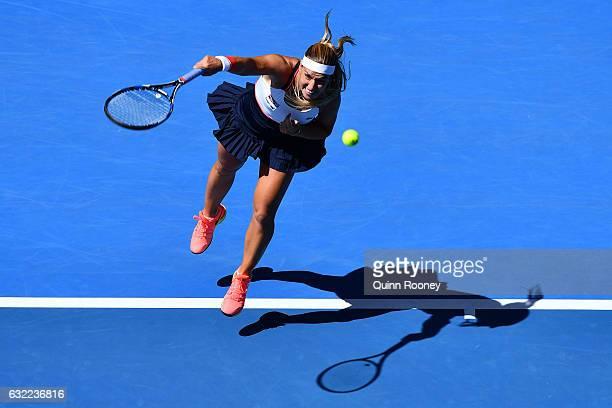 Dominika Cibulkova of Slovakia serves in her third round match against Ekaterina Makarova of Russia on day six of the 2017 Australian Open at...