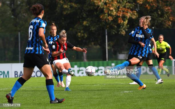 Dominika Conc of AC Milan scores her goal during the Women Serie A match between AC Milan and FC Internazionale at Centro Sportivo Vismara on October...