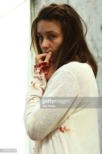 Dominika Paleta poses for a photograph during the filming of 'Maria Fanatica' of TV show 'Mujeres Asesinas' at Roma Colony on July 29 2010 in Mexico...