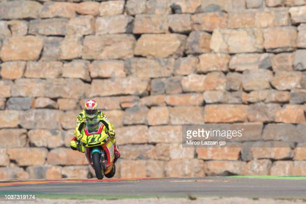 Dominique Aegerter of Swiss and Kiefer Racing heads down a straight during the MotoGP of Aragon Free Practice at Motorland Aragon Circuit on...