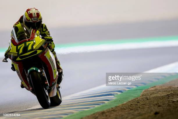 Dominique Aegerter of Swiss and Kiefer Racing heads down a straight during the MotoGP of Japan Free Practice at Twin Ring Motegi on October 19 2018...