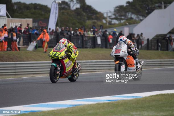 Dominique Aegerter of Swiss and Kiefer Racing leads the field during the Moto2 qualifying during qualifying for the 2018 MotoGP of Australia at...
