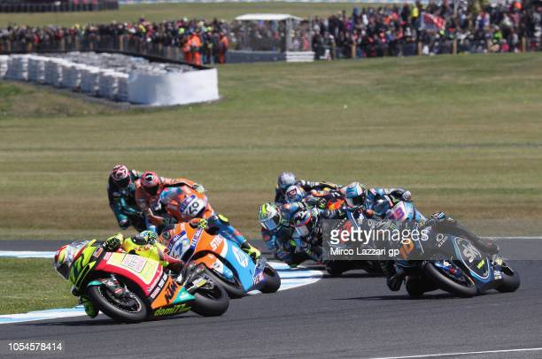Dominique Aegerter of Swiss and Kiefer Racing leads the field during the Moto2 race during the MotoGP of Australia Race during the 2018 MotoGP of...