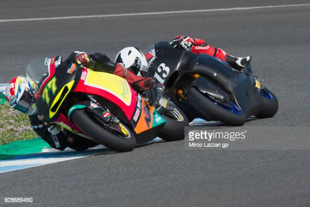 Dominique Aegerter of Swiss and Kiefer Racing leads the field during the Moto2 Moto3 Tests In Jerez at Circuito de Jerez on March 7 2018 in Jerez de...