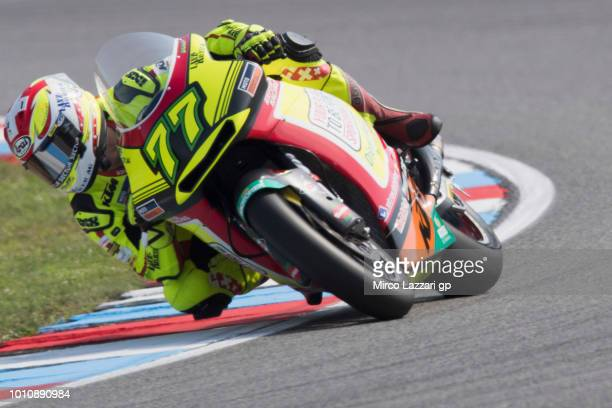 Dominique Aegerter of Swiss and Kiefer Racing rounds the bend during the MotoGp of Czech Republic Qualifying at Brno Circuit on August 4 2018 in Brno...