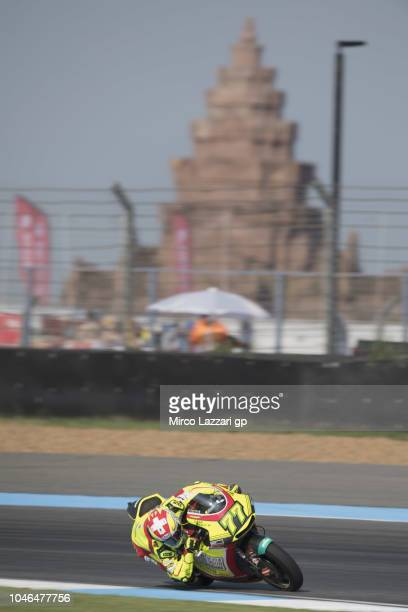Dominique Aegerter of Swiss and Kiefer Racing rounds the bend during the MotoGP Of Thailand Qualifying on October 6 2018 in Buri Ram Thailand