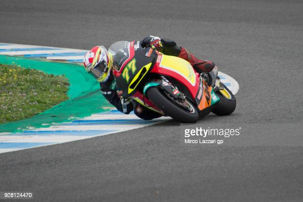 Dominique Aegerter of Swiss and Kiefer Racing rounds the bend during the Moto2 Moto3 Tests In Jerez at Circuito de Jerez on March 6 2018 in Jerez de...