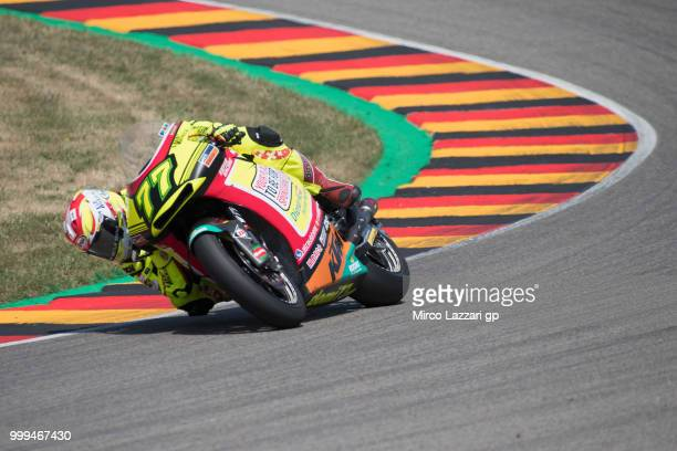Dominique Aegerter of Swiss and Kiefer Racing rounds the bend during the Moto2 race during the MotoGp of Germany Race at Sachsenring Circuit on July...