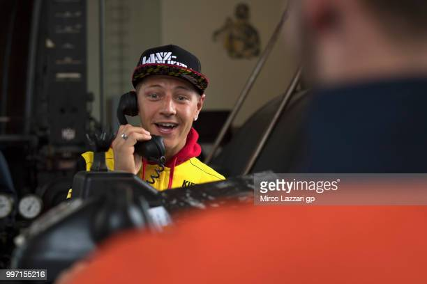Dominique Aegerter of Swiss and Kiefer Racing speaks on phone during the preevent 'MotoGP riders visit the historic Oelsnitz / Erzgebirge coal mine '...