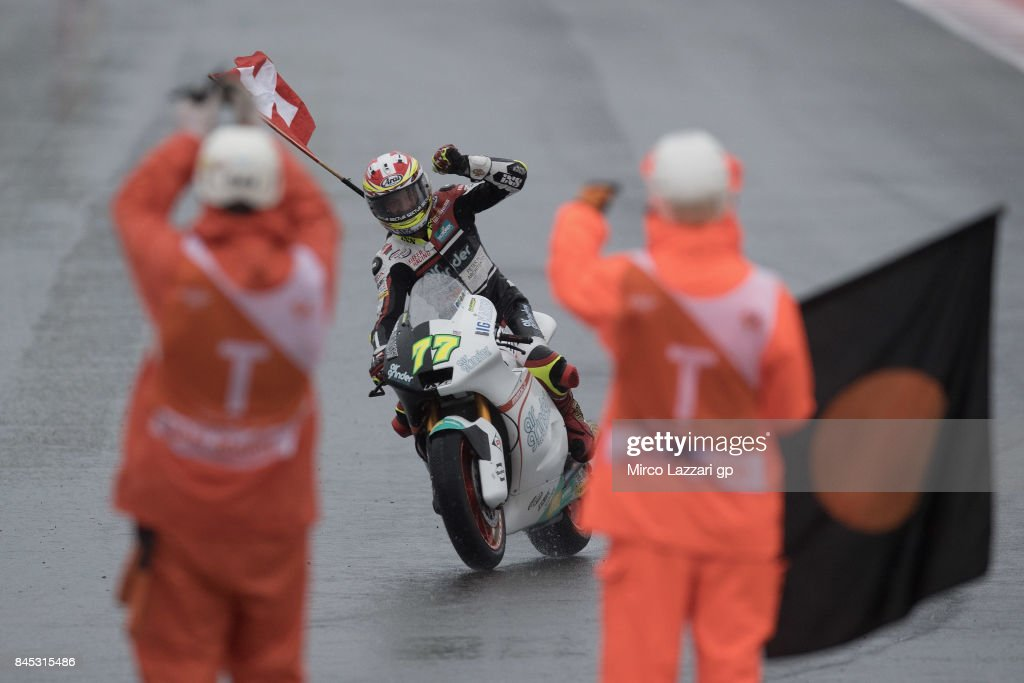 Dominique Aegerter of Switzerland and Kiefer Racing celebrates the victory at the end of the Moto2 Race during the MotoGP of San Marino - Race at Misano World Circuit on September 10, 2017 in Misano Adriatico, Italy.