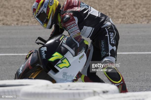 Dominique Aegerter of Switzerland and Kiefer Racing crashed out during the MotoGp of Spain Qualifying at Circuito de Jerez on May 6 2017 in Jerez de...