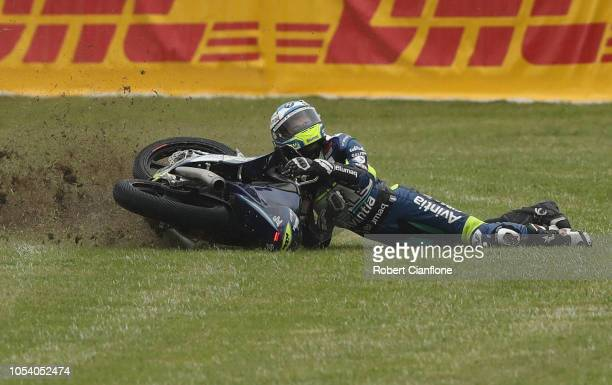 Dominique Aegerter of Switzerland and Kiefer Racing crashes during Moto2 practice for the 2018 MotoGP of Australia at Phillip Island Grand Prix...