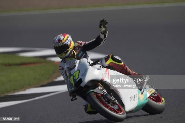 Dominique Aegerter of Switzerland and Kiefer Racing greets the fans during the MotoGp Of Great Britain Free Practice at Silverstone Circuit on August...