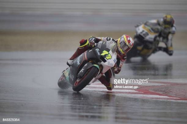 Dominique Aegerter of Switzerland and Kiefer Racing leads the field during the Moto2 Race during the MotoGP of San Marino Race at Misano World...
