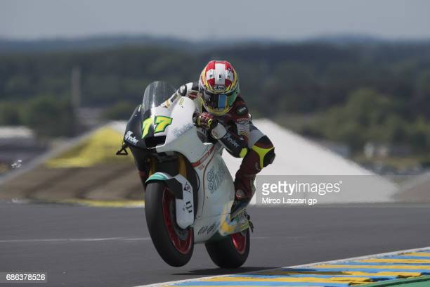 Dominique Aegerter of Switzerland and Kiefer Racing lifts the front wheel during the Moto2 race during the MotoGp of France Race on May 21 2017 in Le...