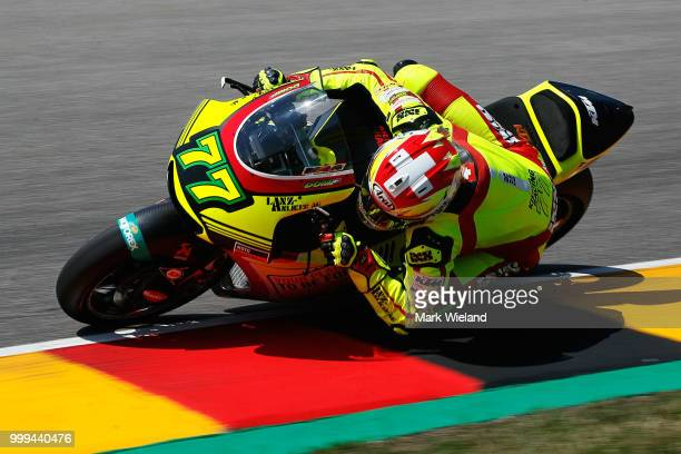 Dominique Aegerter of Switzerland and Kiefer Racing Team in action during the MotoGP of Germany at Sachsenring Circuit on July 15 2018 in...