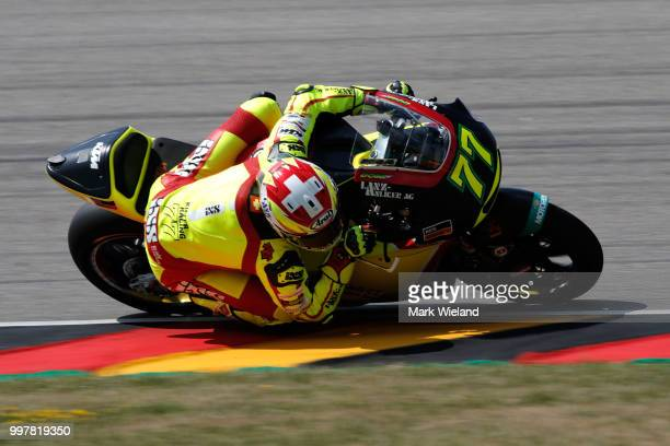 Dominique Aegerter of Switzerland and Kiefer Racing Team rides in free practice during the MotoGP of Germany at Sachsenring Circuit on July 13 2018...