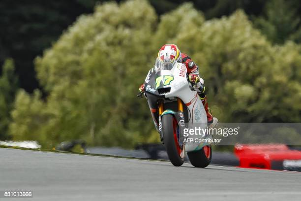 Dominique Aegerter of Switzerland competes during the Moto 2 race of the Austria Moto Grand Prix on August 13 in Spielberg Austria / AFP PHOTO / APA...