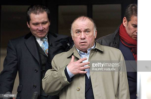 Dominique Alderweireld known as Dodo la Saumure gestures after his hearing at the Tournai justice palace on March 1 2012 Dodo la Saumure is...